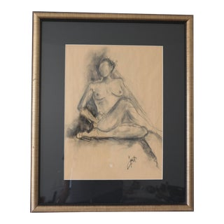 Framed Charcoal Drawing of Nude Woman