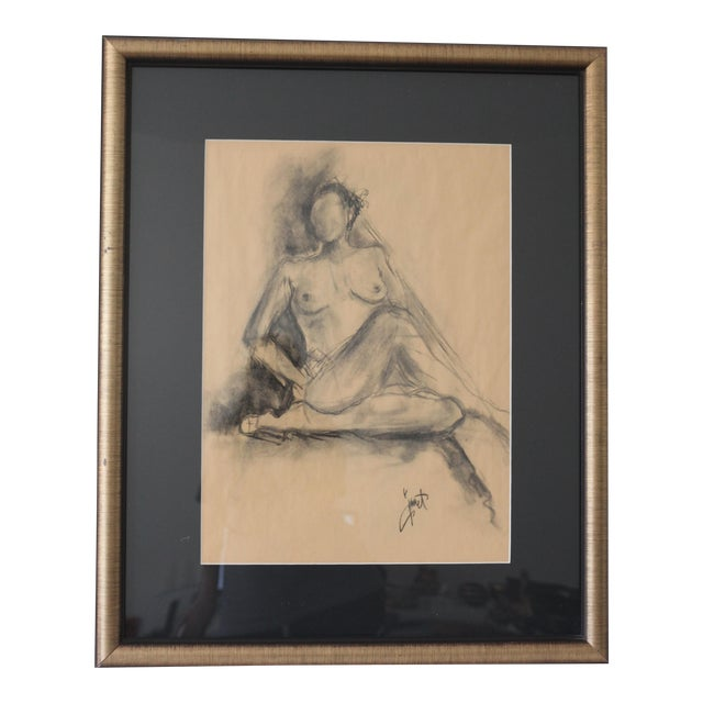 Image of Framed Charcoal Drawing of Nude Woman