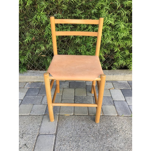 Image of Charlotte Perriand Style Birch & Leather Chair