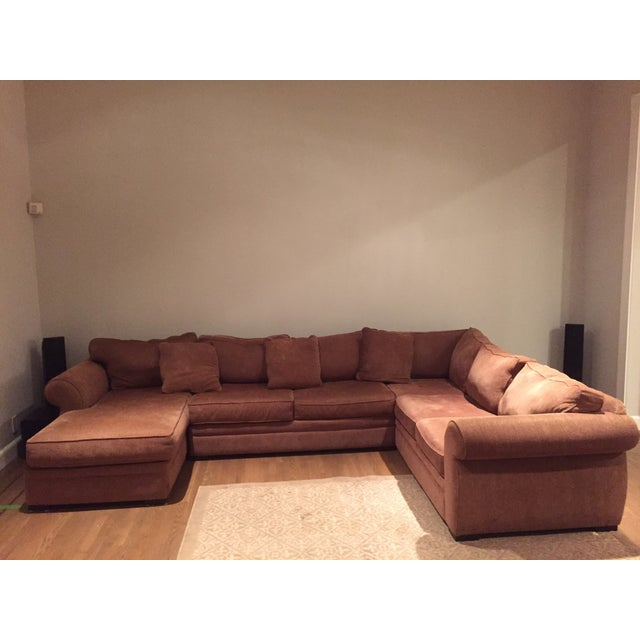 extra large brown sectional sofa chaise chairish. Black Bedroom Furniture Sets. Home Design Ideas