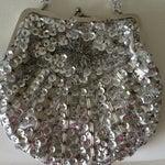 Image of Vintage Silver Sequined Evening Handbag