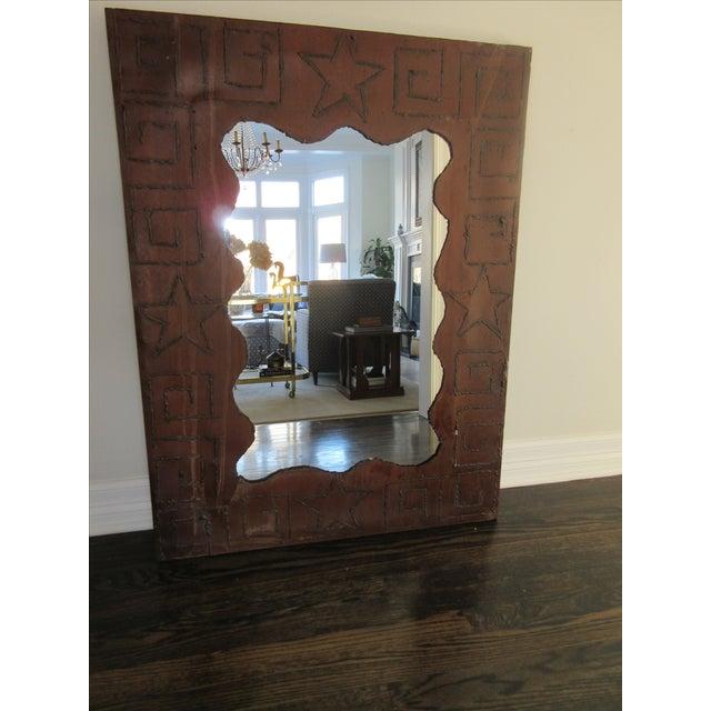 Rustic Brutalist Steel & Iron Mirror - Image 2 of 6