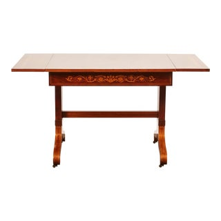 19th Century Danish Mahogany Empire Drop Leaf Table with Intarsia Inlay