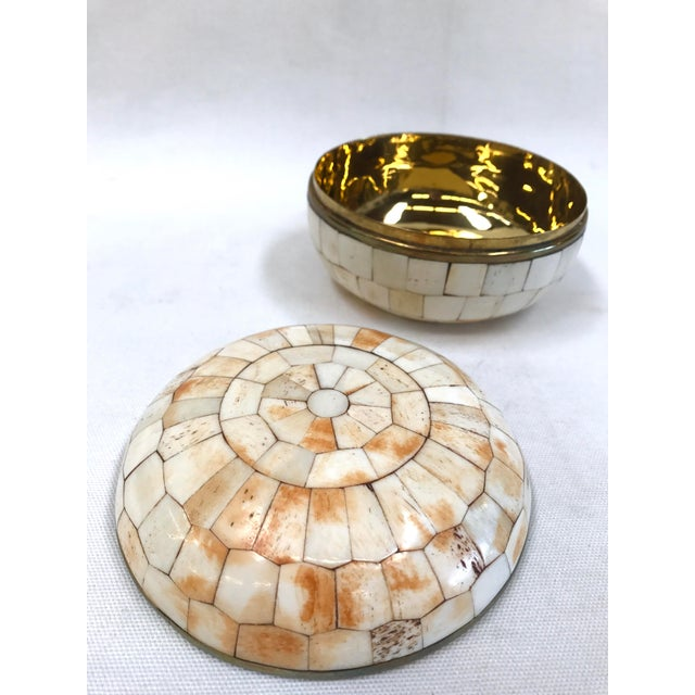 Image of Vintage Trinket Box Tessellated Bone Over Brass