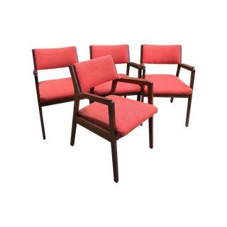 Gunlocke Style Walnut Armchairs - Set of 4