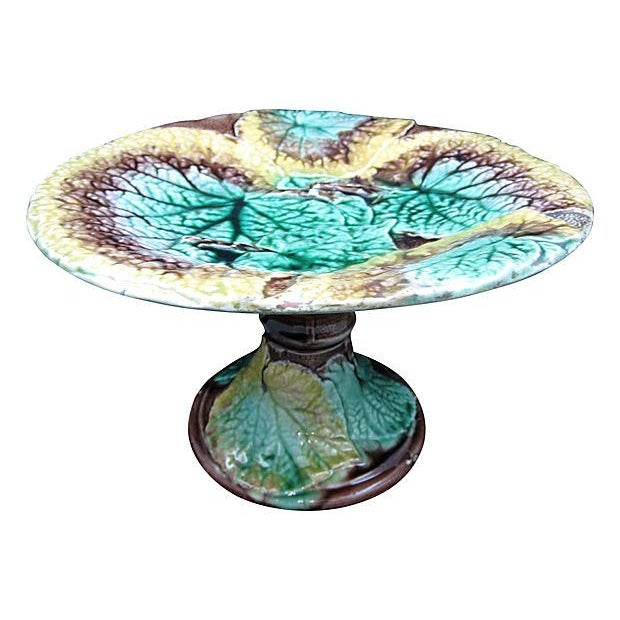 19th C. Majolica Begonia Leaf Footed Compote - Image 1 of 8