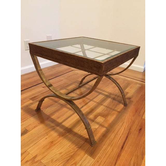 Glass Top Side Tables With Faux Gold Bases - A Pair - Image 3 of 5
