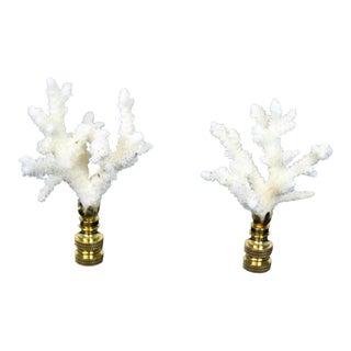 White Coral Lamp Finials - A Pair