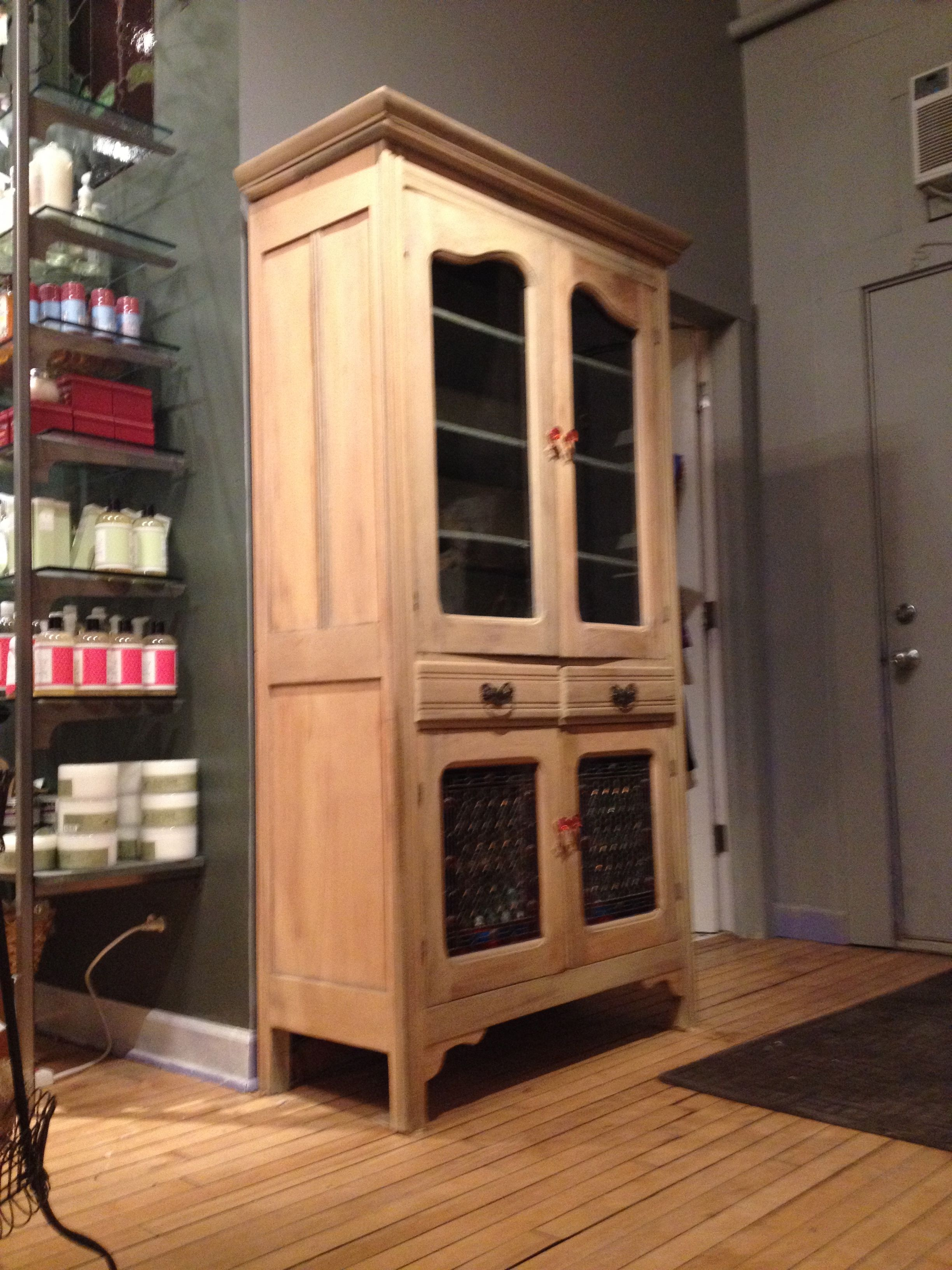 Clear Kitchen Cabinet Doors: Antique Pine Cabinet With Clear Glass Doors