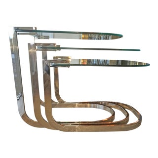 Design Institute of America 'DIA' Chrome and Glass Nesting Tables