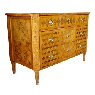 A Handsome Swedish Gustavian Alder Root Parquetry Chest