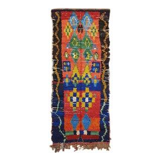 Moroccan Boucherouite Hand-Made Runner Rug - 4″ × 9″