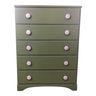 Carved Green 5-Drawer Dresser