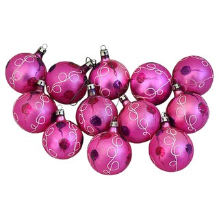 1950s Pink European Christmas Tree Ornaments w/Box - Set of 12