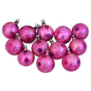1950s Pink European Christmas Tree Ornaments w/Box - Set of 12
