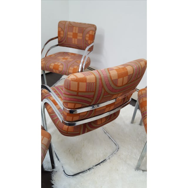 Milo Baughman Style 1970's Deco Style Chrome Framed Chairs - Set of 4 - Image 4 of 8