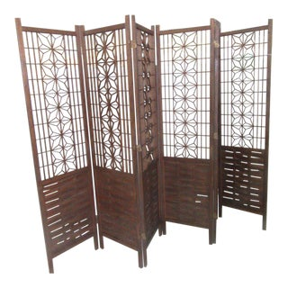 Large Mid-Century Room Divider Screen