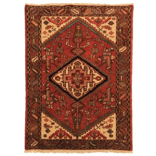 Hand-Knotted Persian Hamadan Rug - 3′5″ × 4′8″