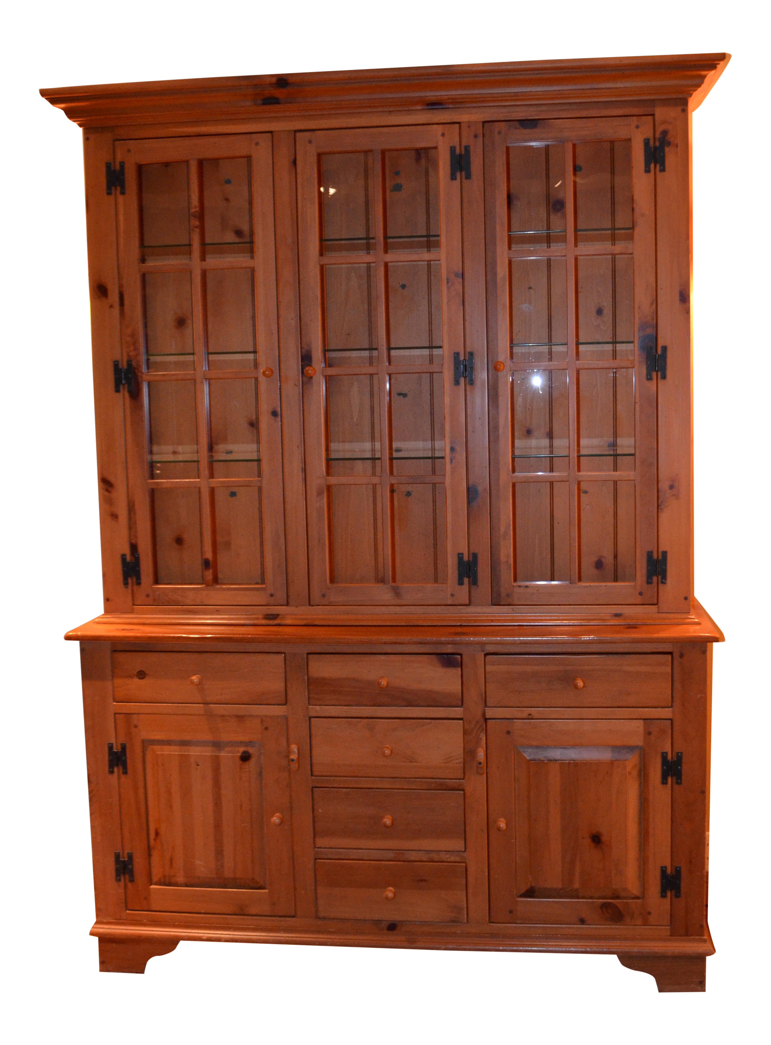 Ethan Allen Country Craftsman Lighted China Cabinet