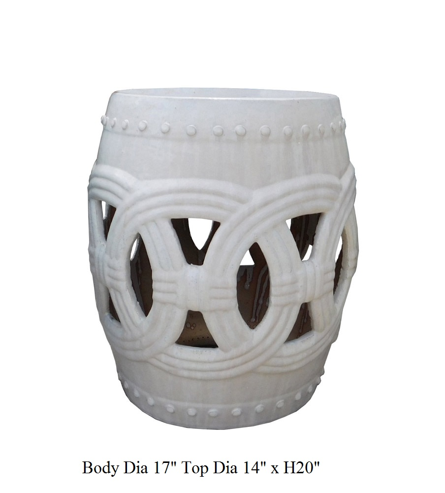 Round Ceramic Garden Stool With White Coin Pattern   Image 5 Of 5