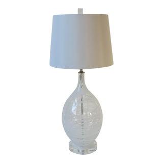 Modern Clear & White Swirled Art Glass Lamp