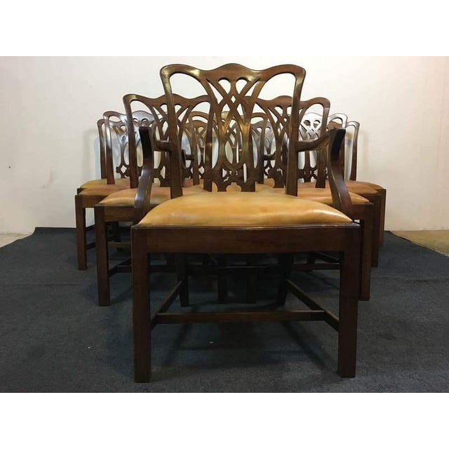 Chippendale Style Carved Mahogany Upholstered Dining Chairs - Set of 8 - Image 3 of 11