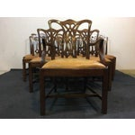 Image of Chippendale Style Carved Mahogany Upholstered Dining Chairs - Set of 8