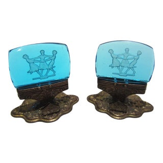 Antique Intaglio Glass Place Card Menu Holders - A Pair