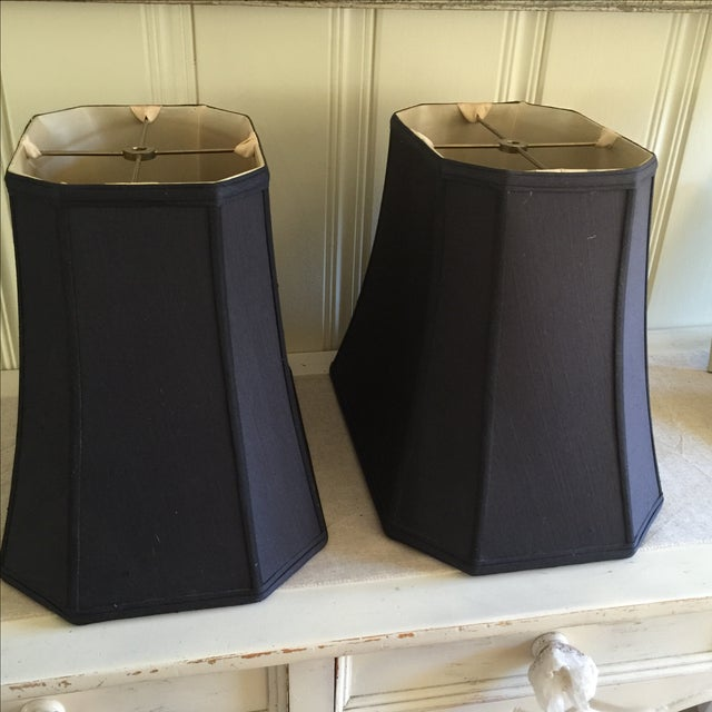 Mid-Century Black Silk Lamp Shades - A Pair - Image 4 of 11