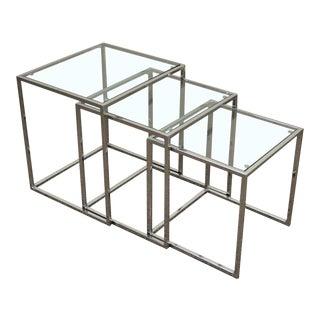 Vintage Mid-Century Modern Chrome & Glass Nesting Tables - Set of 3