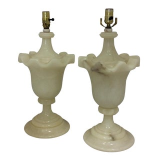 French Alabaster Urn Lamps - A Pair