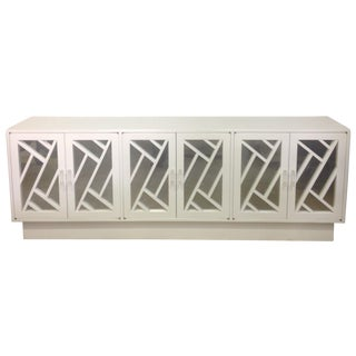 White Chippendale Style Mirrored Credenza