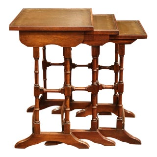 French Wooden Leather Top Nesting Tables - Set of 3