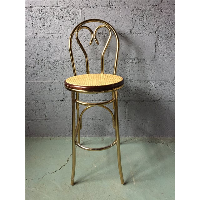 Gold Chrome Bar Stools In The Style of Michael Thonet- Set of 3 - Image 3 of 11
