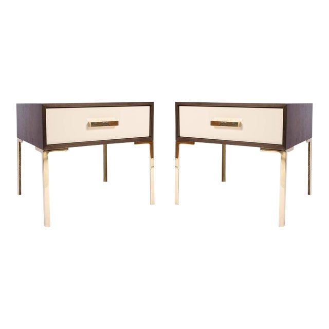 Astor Nightstands in Contrasting Ebony & Ivory by Montage - Image 1 of 10