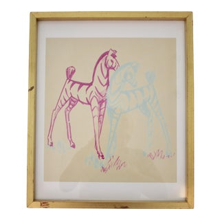Zebra Watercolor Painting in Gilt Frame