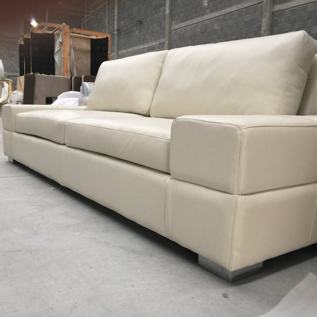 Italian Leather Low Profile Modern Sofa Amp Ottoman Chairish