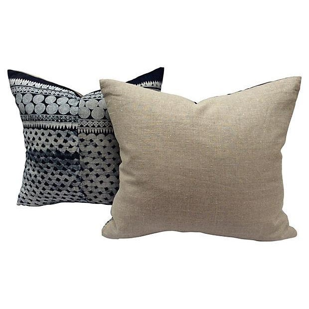 Tribal Indigo Batik Pillows - Pair - Image 6 of 6