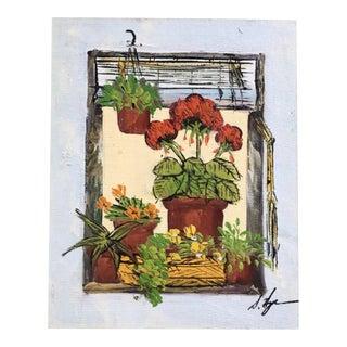 Vintage Bohemian Geraniums Painting