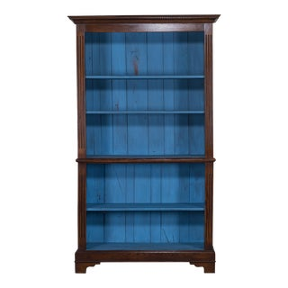 Vintage English Georgian Oak Bookcase Display Cabinet circa 1980