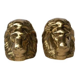 Brass Lion Head Bookends- A Pair