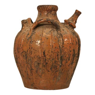 Rustic Early 1800s Handmade Antique French Walnut Oil Jug