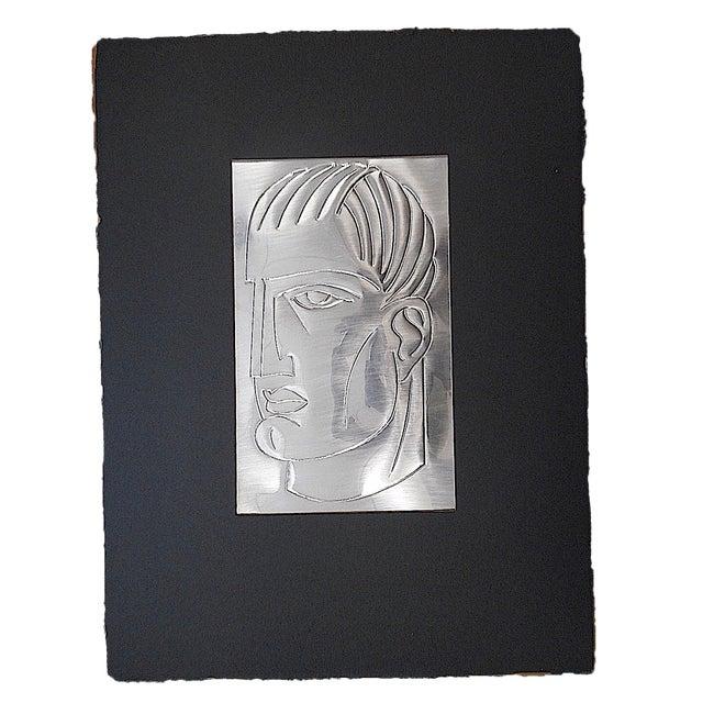 Image of Original Mid Century Etching On Metal-Signed-Portrait
