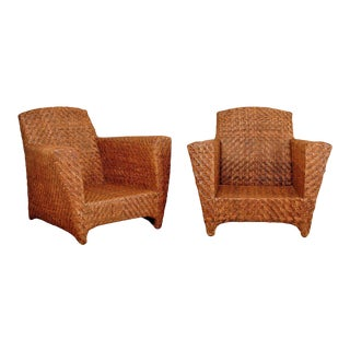 Handsome Pair of Vintage Rattan Club Chairs