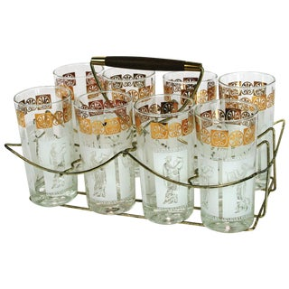 Vintage Highball Glasses in Caddy - Set of 8