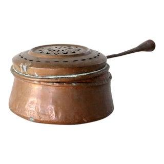 Antique Copper Chestnut Roaster Pot