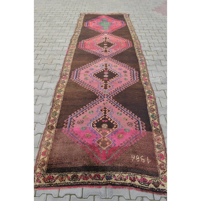 Hand Knotted Turkish Runner Rug - 4′6″ × 13′3″ - Image 4 of 11