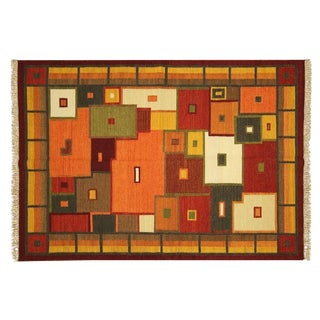 "Multicolor Grid Patch Kilim Rug - 5' 7"" x 8'"