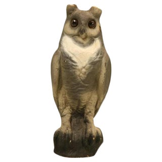 Papier-Mâché American Owl With Glass Eyes