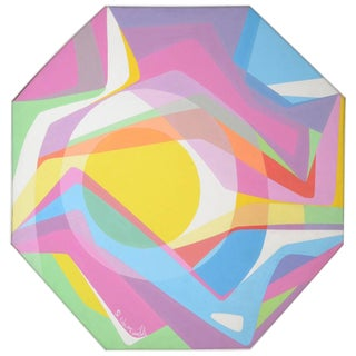 1970s Octagonal Abstract Oil on Canvas